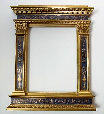 ANTIQUE FLORENTINE TABERNACLE FRAME ITALIAN RENAISSANCE HAND PAINTING 18Th.C