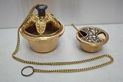 """+ Older Single Chain Bronze 5 3/4"""" Censer Thurible with Boat & Spoon + (CU436)"""