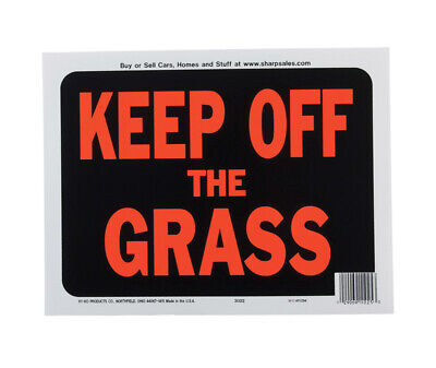 Hy-Ko English Keep off the Grass Sign Plastic 9 in. H x 12 in. W - Case of 10