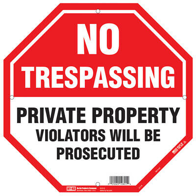 Hy-Ko English No Trespassing/Private Property Sign Polystyrene 12 in H x 12 in W