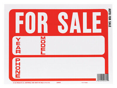 Hy-Ko  English  For Sale (Auto)  Sign  Plastic  9 in. H x 12 in. W - Case of 10