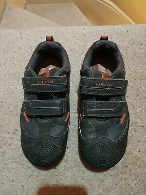 GEOX BOYS BLUE grey and orange Trainers shoes UK13 EU32
