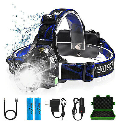 900000lumen T6 USB Rechargeable Headlamp Flashlight Head Torch 18650 w/h 3 Modes