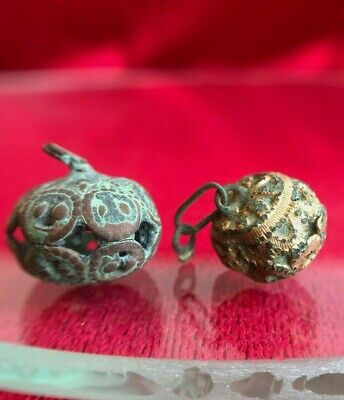 2 Buttons Bronze Slotted Gilding Patterns Kievska Rus Vikings 11 -13 century