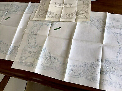Vintage Pair Of Matching Printed Linen Table Centre / Tray Cloth To Embroider