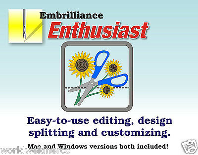 Embrilliance Enthusiast Embroidery Software for Win&Mac Editing Sizing Splitting