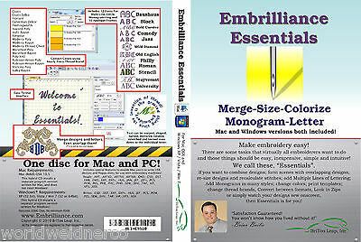 Embrilliance Essentials Machine Embroidery Software Win&Mac Lettering Editing