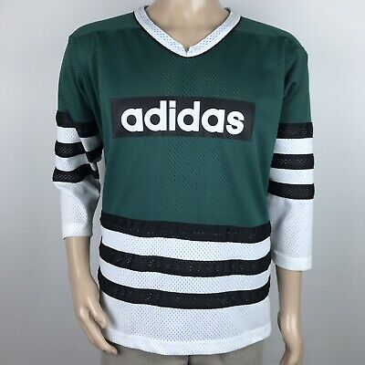 VTG 90s Adidas Hockey Style Jersey Shirt Mens L Green Big Logo Made in USA RARE