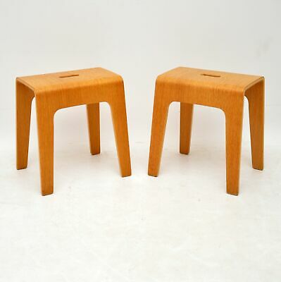 Pair Of Swedish Bentwood Stacking Stools / Side Tables By Peter Brandt