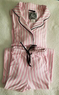 Pj Couture Women's Pink/White Stripe 2 Piece Set Sleepwear Size S