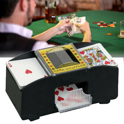 Automatic Card Shuffler Deck Casino Playing Cards Sorter Poker Games Black A