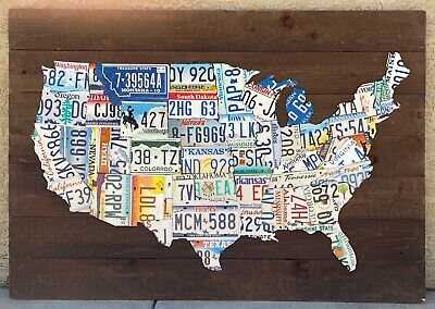 48 State USA License Plate MAP Made of Genuine License Plates!