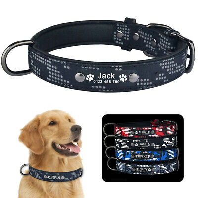 Personalized Dog Collar Leather Soft Padded Free Engraved Name Number Refletive