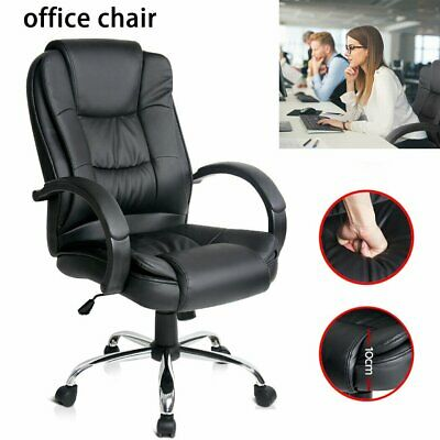 Office Chair Computer Executive Chairs PU Leather Work Seat Black