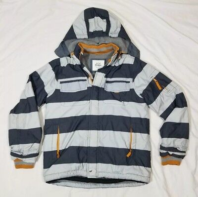 Mini Boden Boys Girls Youth Gray Stripe Hooded Zipper Snow Ski Jacket Size 13/14