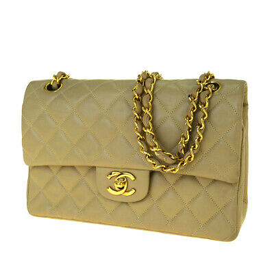 Auth CHANEL CC Logo Matelasse Quilted Chain Shoulder Bag Leather Beige 660SA429