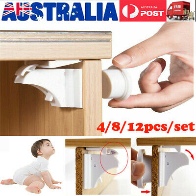 4X-12X Magnetic No Drilling Cabinet Drawer Cupboard Locks Baby Kids Safety Locks
