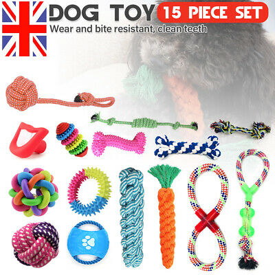 15Pcs Dog Puppy Rubber Chew Toy Teething Training Teeth Cleaning Cotton Rope