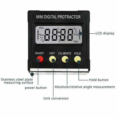 LCD Digital Protractor Angle Meter Finder Gauge Level Magnetic Inclinometer Tool