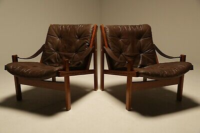 Leather Hunter Chairs By Torbjorn Afdal For Bruksbo Norway Vintage Mid-century