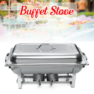 9L 2 Pans Chafing Dish Rectangle Food Warmers Burner Tray Party Stainless Steel
