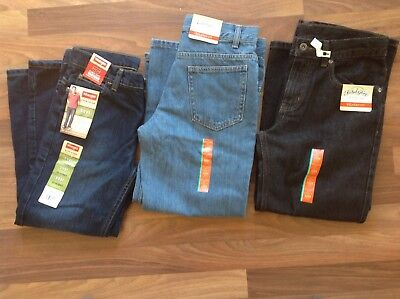 Boys Jeans, Sz 10H, 3 pair, x2 Faded Glory, x1 Wrangler, Dk Blue, Md Blue, Black