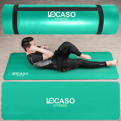 Yoga Mat 10mm Thick NonSlip For Gym Exercise Training Fitness Pilates Workout UK