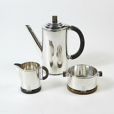 Danish Silver Grann Laglye Art Deco Coffee Mocca Service Pot Sugar Milk Creamer