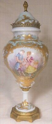 Fine Antique French Sevres Porcelain And Ormolu Covered Urn HP Romantic SCene