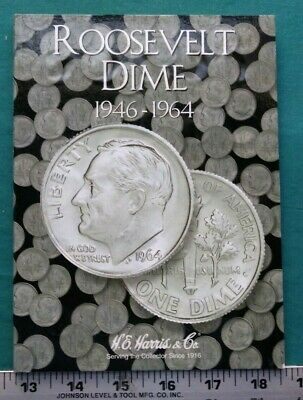 Complete Set Roosevelt Dimes 1946-1964 Circ in H.E. Harris Folder Book  #5575