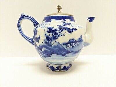 Antique Chinese Blue And White Glaze Porcelain Teapot Signed By Maker Artist