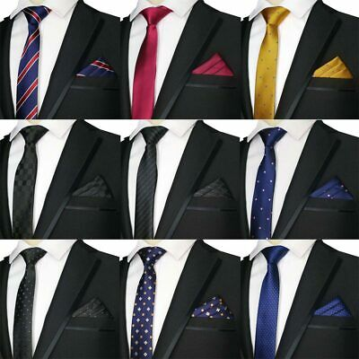 Hot Skinny 5CM Men's Neck Tie Set Necktie & Handkerchiefs Sets Slim Narrow Ties