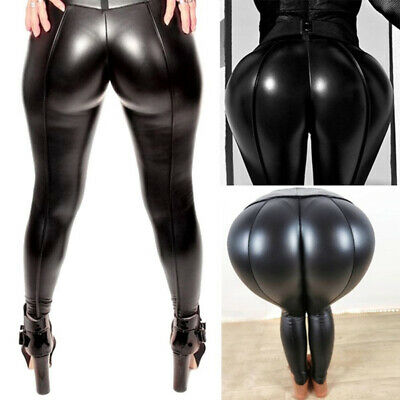 Women Sexy Wet Leather Leggings Push Up Pencil Pants Skinny Stretchy Trousers