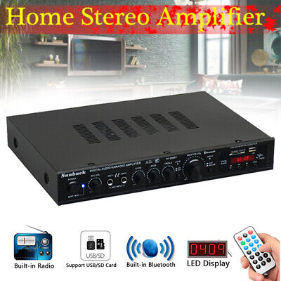 2000W Power Audio Bluetooth Amplifier SD Surround USB For Theater Karaoke Home