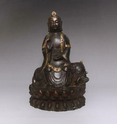 Perfect Antique Chinese Bronze Manjusri Buddha Statue-27cm