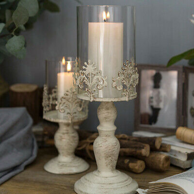 Rustic Floral Glass Candlestick LED Pillar Candle Holder Stand Table Xmas Decor