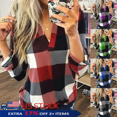 Womens Casual Loose Flannel Plaid Shirt V Neck Stand Collar Tops Blouse T-shirts
