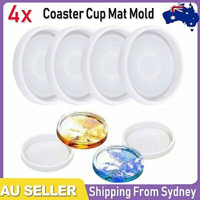 4pcs Coaster Cup Mat Mold Round Silicone Mould for Craft DIY Epoxy Resin Casting