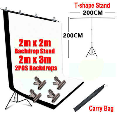 2X3M Photo Backdrops Black White Screen Background With T Type Support Stand Kit