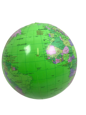 Inflatable Globe Map Ball World Earth Geography Blow Up Atlas Education Toy 40cm