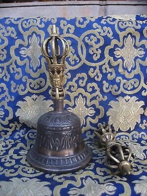 Antique Very Old Used Master Quality long Vibrating Sound Tibetan Bell and Dorji