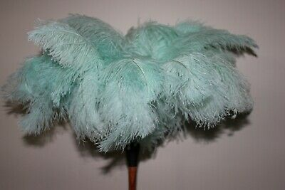 White first grade ostrich feather duster 40cm overall soft feathers wood hdle