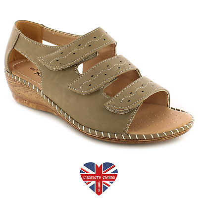 *Sale* Ladies Dr Keller Touch Fastening Sandals Taupe, Open Toe Wide Fit, Eileen