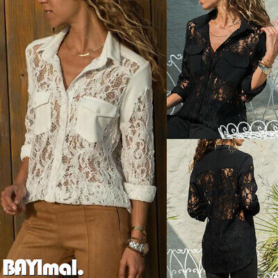 Womens Sexy Lace Long Sleeve Shirts Ladies Casual Loose Button Blouse Tops 10-16