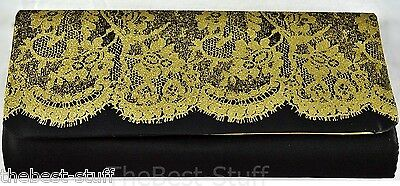 "Avon Ultimate Clutch Purse Black with Glittery Lace NEW in Pack 10/"" X 5/"""