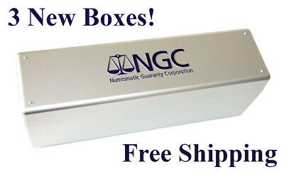 Lot 3 NEW Official NGC Box 20 Graded Certified Coin Slab Silver Plastic Storage