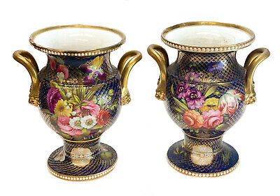 Pair Spode England Hand Painted Porcelain Double Handled Urns, circa 1800