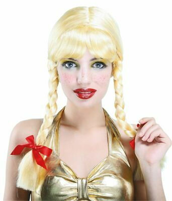 Ladies Blonde Heidi Wig Oktoberfest German Bendable Plait Panto Bavarian Pigtail