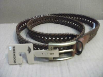 Dockers Mens 1 3/16 INCH Faux Leather Braided Belt SIZE 42 *