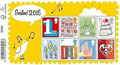 GB Stamps 2015 'Smilers' MS3678 (with barcode) - U/M